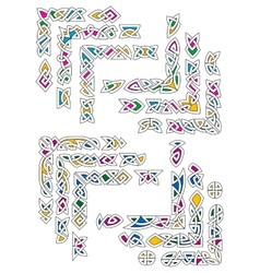Celtic ornamental corners with colorful segments vector image vector image