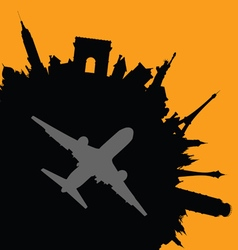 travel city with airplane vector image