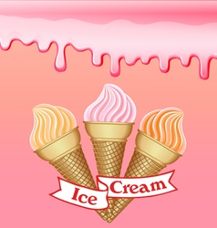 background with the influx of strawberry cream vector image vector image