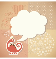 cute dragon and speech bubble vector image