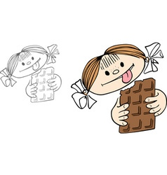 Girl with chocolate vector image