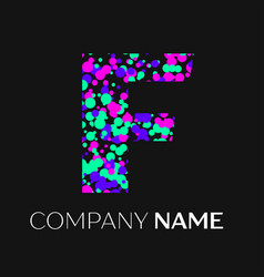 Letter f logo with pink purple green particles vector