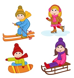 set of isolated children winter sports vector image