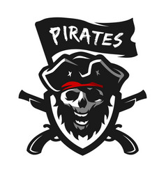 skull of captain of pirates logo emblem vector image
