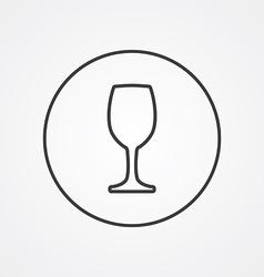 wineglass outline symbol dark on white background vector image vector image