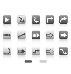 arrow square button set vector image
