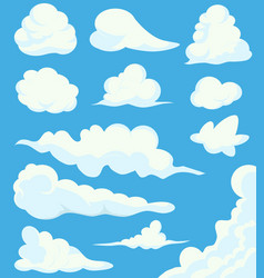cartoon clouds set on blue sky background vector image vector image