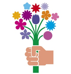 hand giving flower bouquet vector image vector image