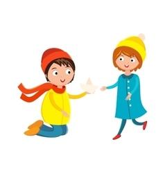 Little boy flower and girl cute children waving vector image