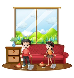 Two kids sweeping the floor vector image vector image