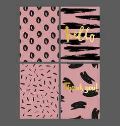A set of greeting cards with brush strokes on a vector