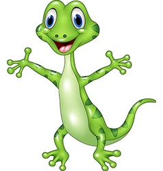 Cartoon funny green lizard posing isolated on whit vector image vector image