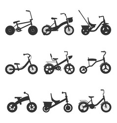 childrens bicycles silhouettes vector image
