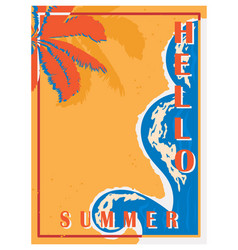 retro poster with palm trees sea and beach vector image vector image