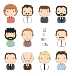 Set of colorful male faces icons Funny cartoon vector image
