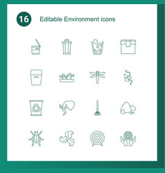 16 environment icons vector image