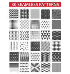 30 retro styled black seamless patterns vector