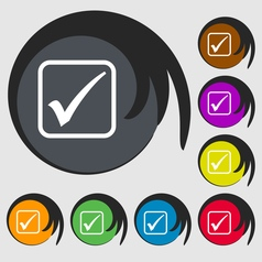 A check mark icon sign Symbol on eight colored vector image