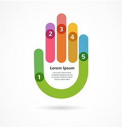 Abstract background infographic with hand vector