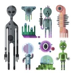 aliens monsters set vector image