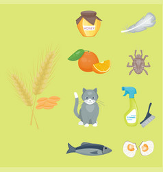 Allergy symbols disease healthcare food viruses vector