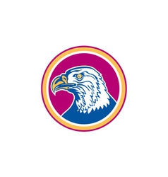 American Bald Eagle Head Side Circle Retro vector image