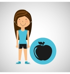 Athlete girl apple nutrition sport style vector