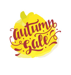 autumn sale badge with hand lettering vector image