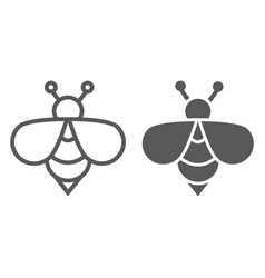 bee line and glyph icon animal and honey insect vector image
