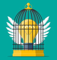 Bird cage with light bulb idea inside vector