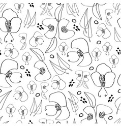 black line flowers -monochromatic vector image