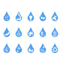 blue eco drop icons set vector image