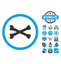 Bones Cross Flat Icon with Bonus vector
