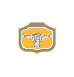 Bull Head Snorting Shield Retro vector