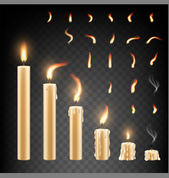 Burning candle and flame set isolated vector
