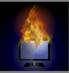 burning screen monitor with fire flame vector image