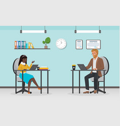 business people work busy office workers sitting vector image