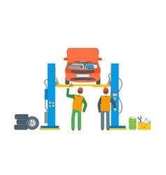 Car Repair Service Automobile Lifted vector image