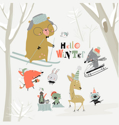 Cartoon cute animals meeting winter in forest vector