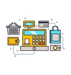 Cash register line style vector image
