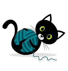 Cat is playing with wool ball vector
