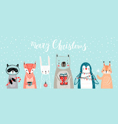 christmas card with animals hand drawn style vector image