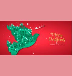 Christmas new year paper cut bird winter city vector