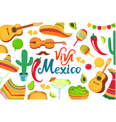 cinco de mayo viva mexico hand drawn lettering vector image
