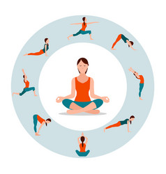 circle with female icons in different yoga poses vector image