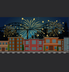 Cityscape with celebration fireworks scene vector