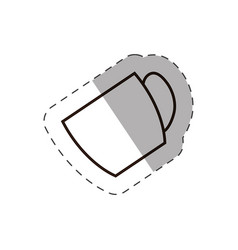 Coffee cup beverage handle line vector