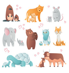 Collection animals mom and baby cartoons cute vector