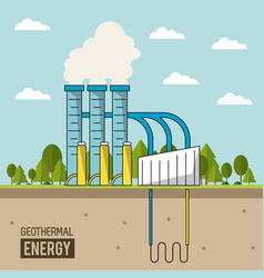 Coloful background geothermal energy production vector