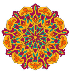 Color mandala ethnic pattern round symmetrical vector